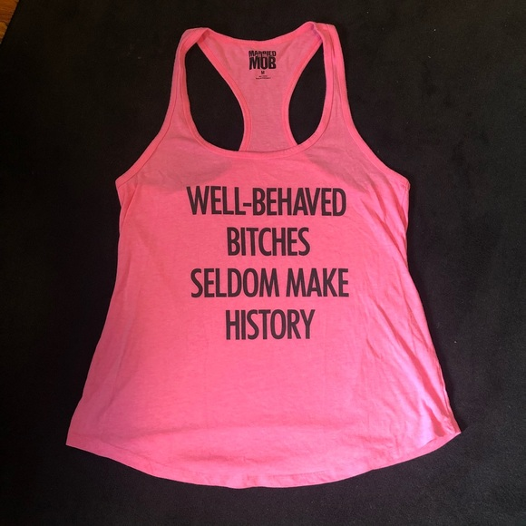"""Well behaved..."" hot pink racerback tank to (M)"